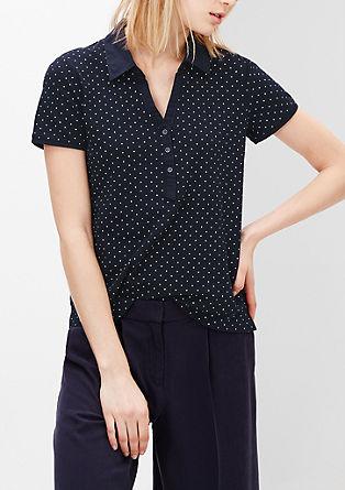 Gemustertes Poloshirt mit V-Neck