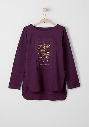 Geribd shirt met een glanzend opschrift