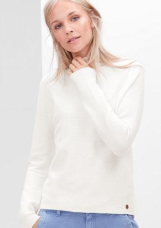 Gerippter Stehkragen-Pullover