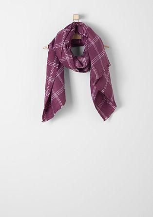 Geruite geweven sjaal met franjes