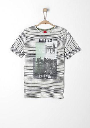 Gestreept shirt met een collageprint