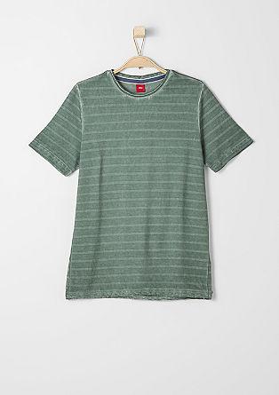 Gestreept shirt met garment washed effect