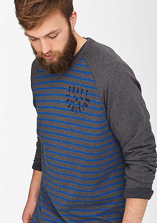 Gestreept shirt met raglanmouwen