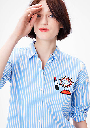 Gestreepte blouse met applicaties