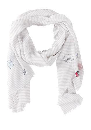 Gestreepte sjaal met een kleurrijke print