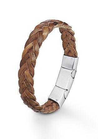 Gevlochten leren armband met sluiting van edelstaal
