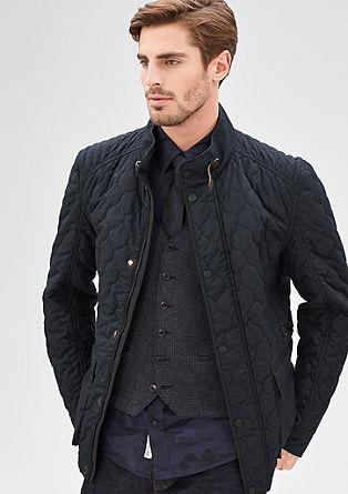 Gewatteerde jas met een gemêleerde wollen look