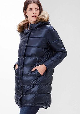 Gewatteerde mantel met imitatiebont aan de capuchon