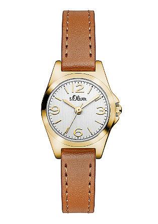 Glanzend horloge met een leren bandje