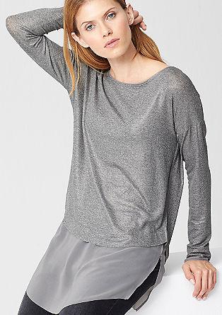 Glitter-Longshirt mit Chiffon
