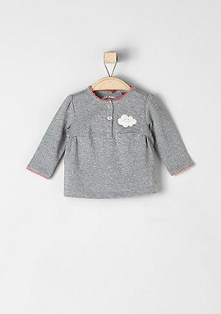 Glittershirt met een wolkenapplicatie