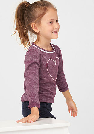 Glittery long sleeve top with a heart from s.Oliver