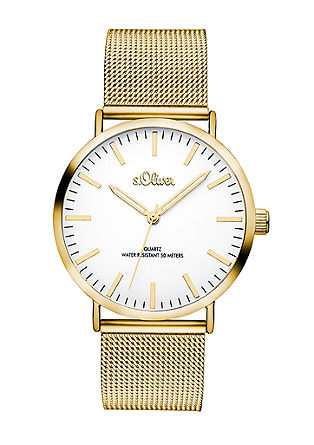 Goldfarbene Uhr mit Meshband