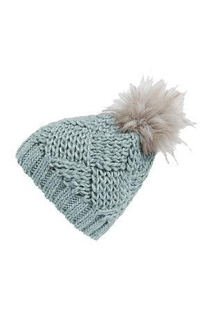 Grobo pletena kapa z umetnim krznom