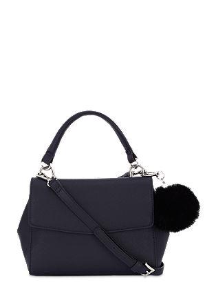 Handtasche mit Fake-Fur-Puschel
