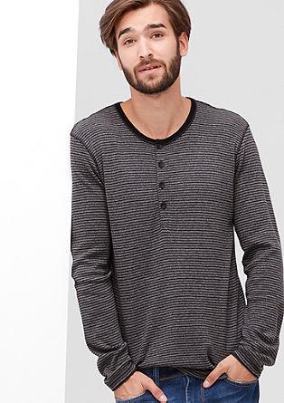 Henley-Shirt mit Streifen