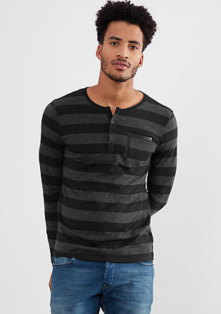 Henley T-shirt with block stripes from s.Oliver