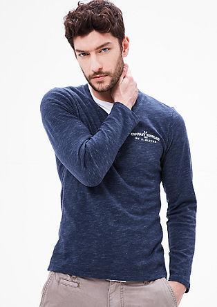 Henleyshirt mit Label-Stitching