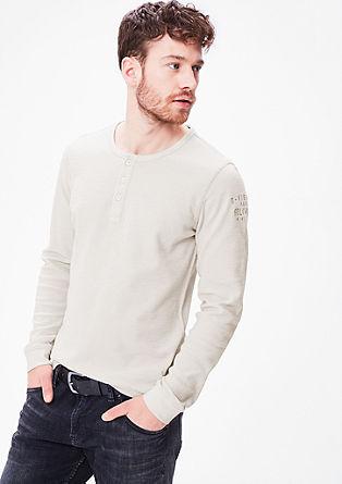 Henleyshirt van wafelpiqué
