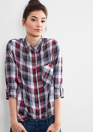 Herringbone blouse with checks from s.Oliver