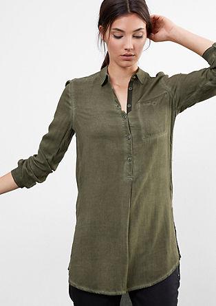 Herringbone-Bluse in Garment Dye