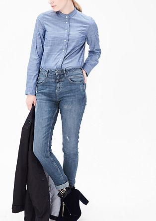 High rise skinny: jeans met een used look