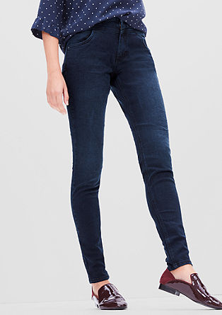 High rise skinny: ton sur ton stretchjeans