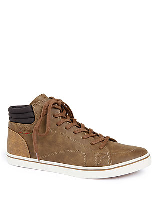 High Sneaker in Leder-Optik
