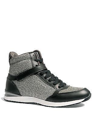 High Sneakers mit Glitzer-Effekt