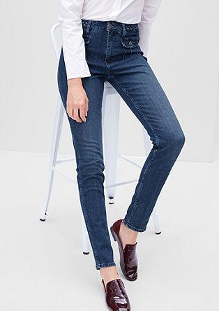 High Waist-Jeans mit Flecht-Details