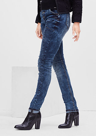 High-waisted jeans with a garment-washed effect from s.Oliver