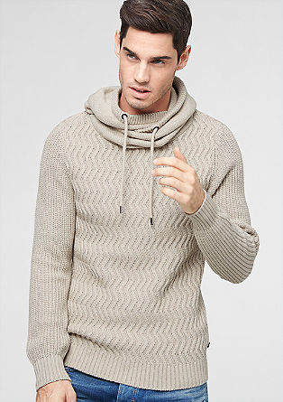 Hooded jumper in a textured knit from s.Oliver
