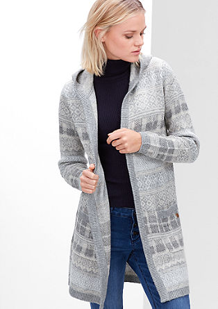 Hooded knit coat in blended wool from s.Oliver