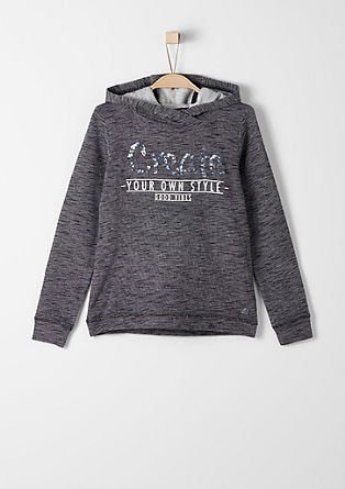 Hooded sweatshirt with a sequin appliqué from s.Oliver