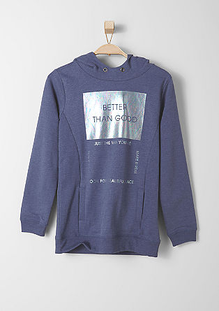Hoodie with a metallic print from s.Oliver