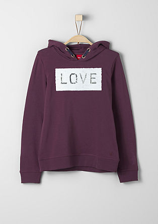 Hoodie with sequin appliqués from s.Oliver