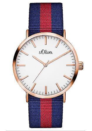 Horloge met bandje van gestreept textiel