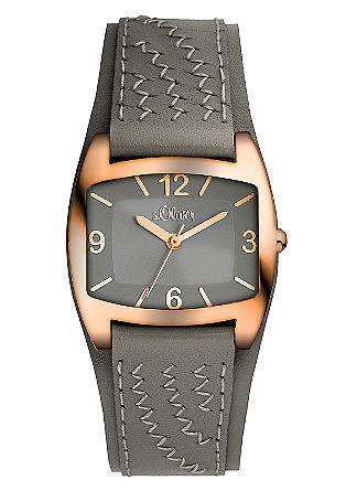 Horloge met bestikte band van leer