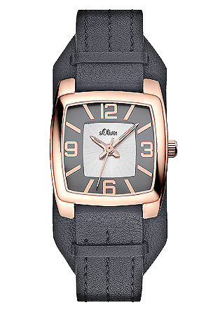 Horloge met een brede, leren armband