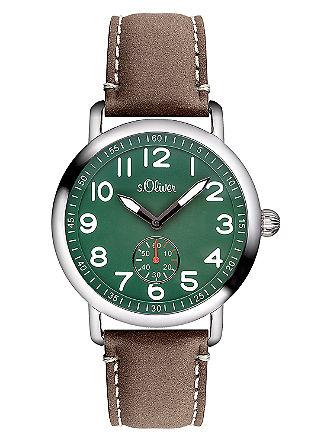 Horloge met een kleine secondewijzer. Van een materiaalmix