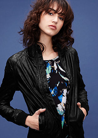 Imitation leather jacket with a crinkle effect from s.Oliver