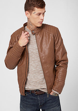 Imitation leather jacket with biker details from s.Oliver