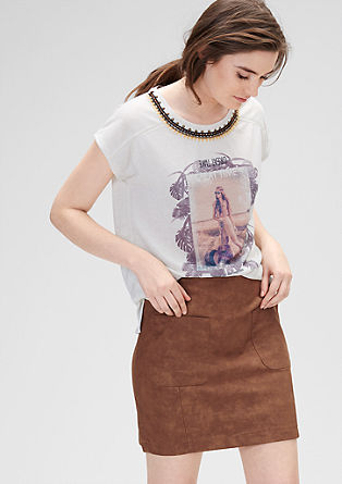 Imitation leather skirt with large pockets from s.Oliver