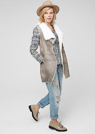 Imitation leather waistcoat with fake fur from s.Oliver