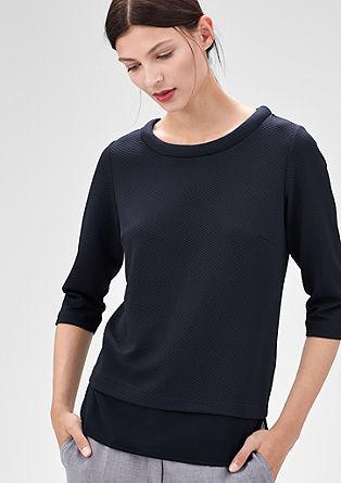 Interlock shirt met gestikt motief