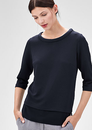 Interlock-Shirt mit Steppmuster
