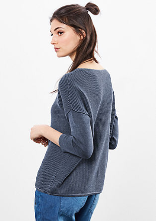 Jacquard knitted jumper with a garment wash from s.Oliver