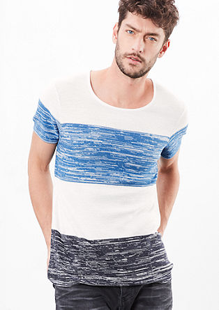 Jacquard-Shirt mit Blockstreifen