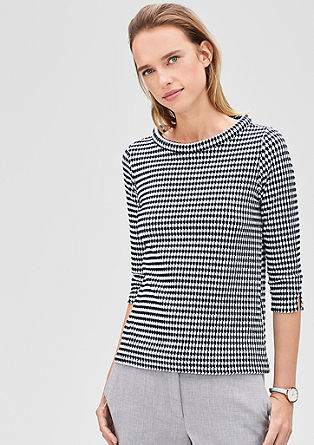 Jacquard top with 3/4 sleeves from s.Oliver