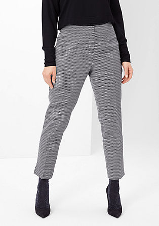 Jacquard trousers in black and white from s.Oliver